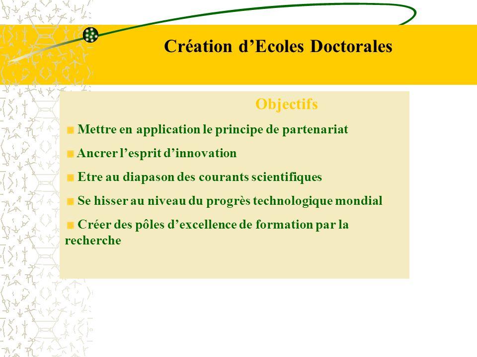 Création dEcoles Doctorales Objectifs Mettre en application le principe de partenariat Ancrer lesprit dinnovation Etre au diapason des courants scient
