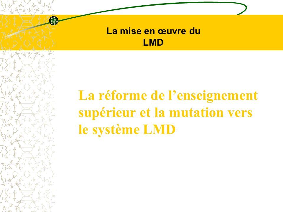 La réforme de lenseignement supérieur et la mutation vers le système LMD La mise en œuvre du LMD