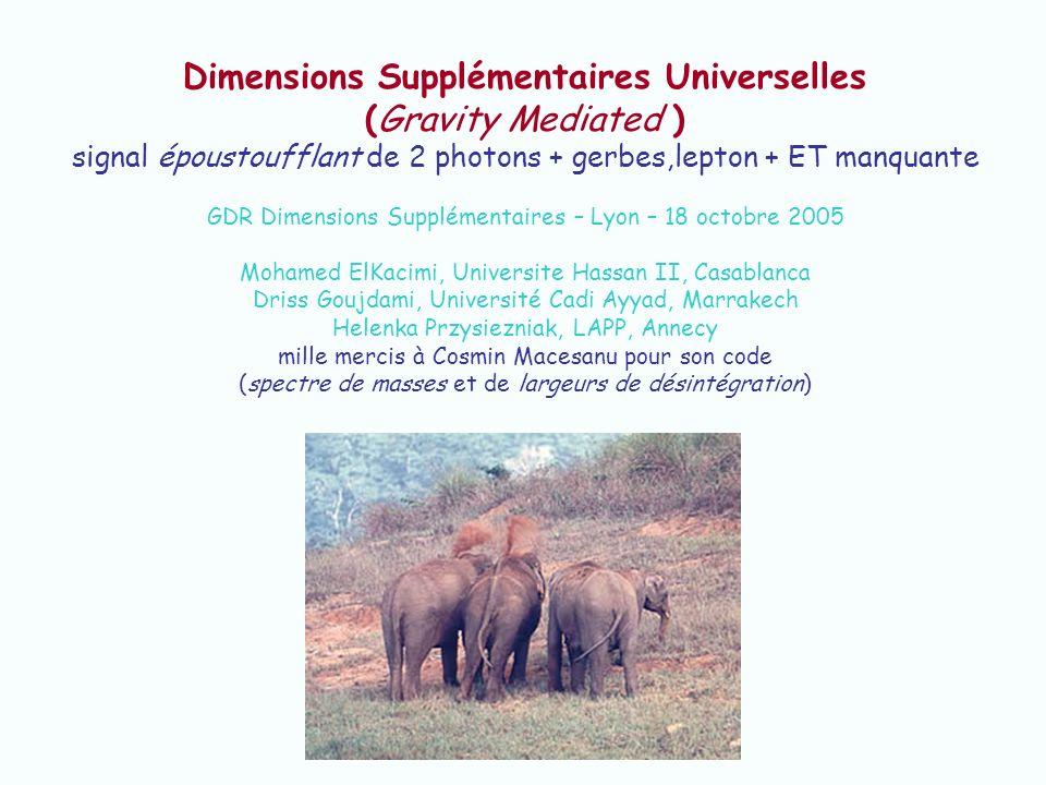 Dimensions Supplémentaires Universelles (Gravity Mediated ) signal époustoufflant de 2 photons + gerbes,lepton + ET manquante GDR Dimensions Supplémen