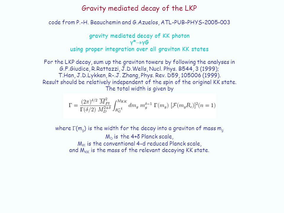 Gravity mediated decay of the LKP code from P.-H.