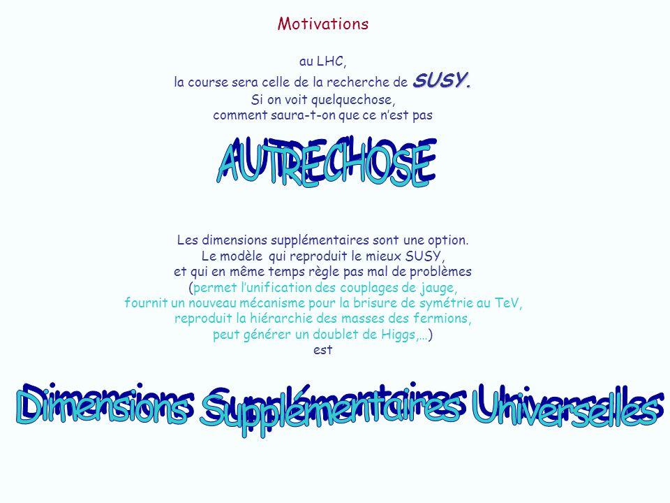 Dimensions Supplémentaires Universelles où Universelle vient du fait que TOUTES les particules du MS se propagent dans l(es) XtraD(s).