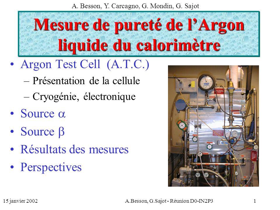 15 janvier 2002A.Besson, G.Sajot - Réunion D0-IN2P31 Mesure de pureté de lArgon liquide du calorimètre Argon Test Cell (A.T.C.) –Présentation de la cellule –Cryogénie, électronique Source Résultats des mesures Perspectives A.