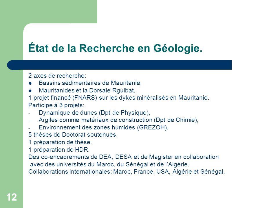12 État de la Recherche en Géologie. 2 axes de recherche: Bassins sédimentaires de Mauritanie, Mauritanides et la Dorsale Rguibat, 1 projet financé (F