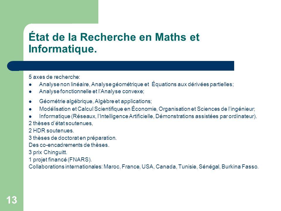 13 État de la Recherche en Maths et Informatique. 5 axes de recherche: Analyse non linéaire, Analyse géométrique et Équations aux dérivées partielles;