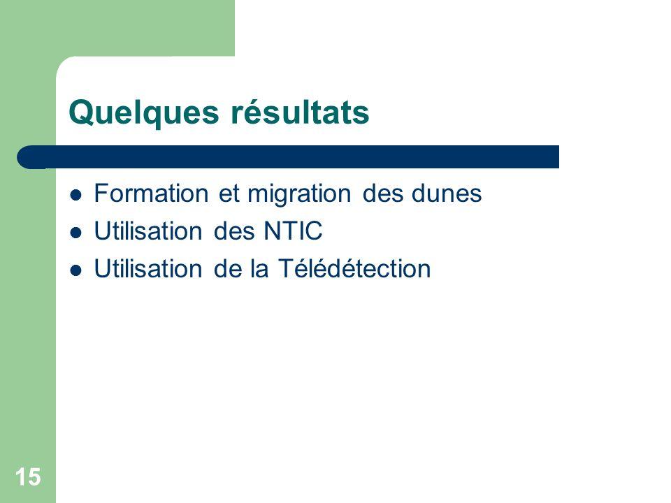 15 Quelques résultats Formation et migration des dunes Utilisation des NTIC Utilisation de la Télédétection