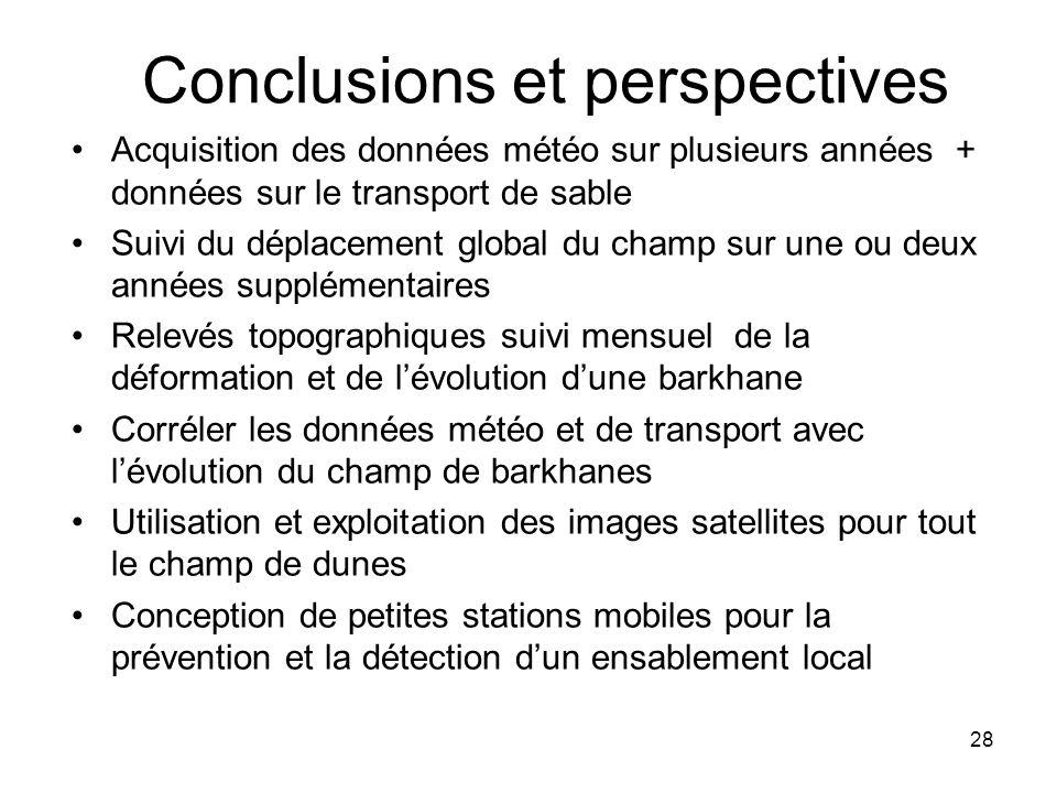 28 Conclusions et perspectives Acquisition des données météo sur plusieurs années + données sur le transport de sable Suivi du déplacement global du c