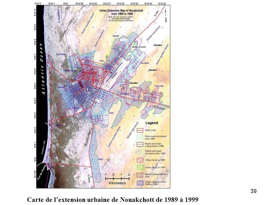 39 Carte de lextension urbaine de Nouakchott de 1989 à 1999