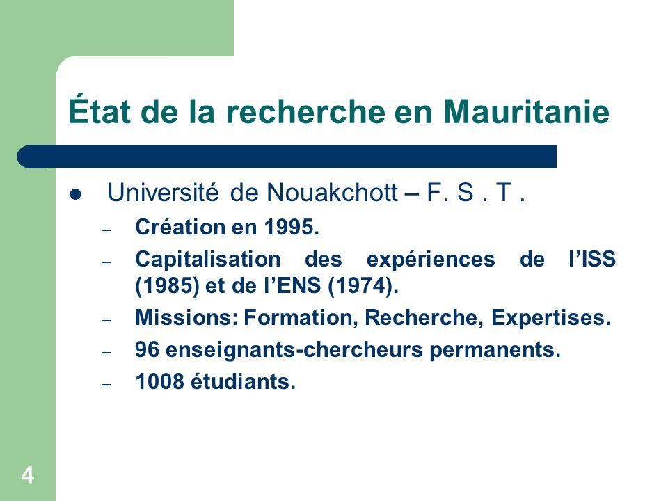 5 État de la recherche en Mauritanie Structuration de la recherche Malgré linexistence de structures dédiées à la recherche au sein de lUniversité de Nouakchott il existe des groupes de recherche dans les différents domaines : Environnement des Zones Humides (GREZOH), Mathématiques (GRED), Plantes médicinales, Énergie renouvelables (CRAER), Télédétection, Eco biologie marine, Érosion côtière, biochimie structurale, Dynamique des dunes, Migration des oiseaux, …