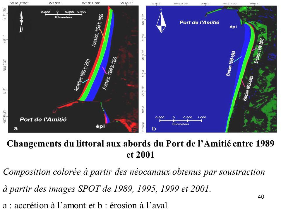 40 Changements du littoral aux abords du Port de lAmitié entre 1989 et 2001 Composition colorée à partir des néocanaux obtenus par soustraction à part