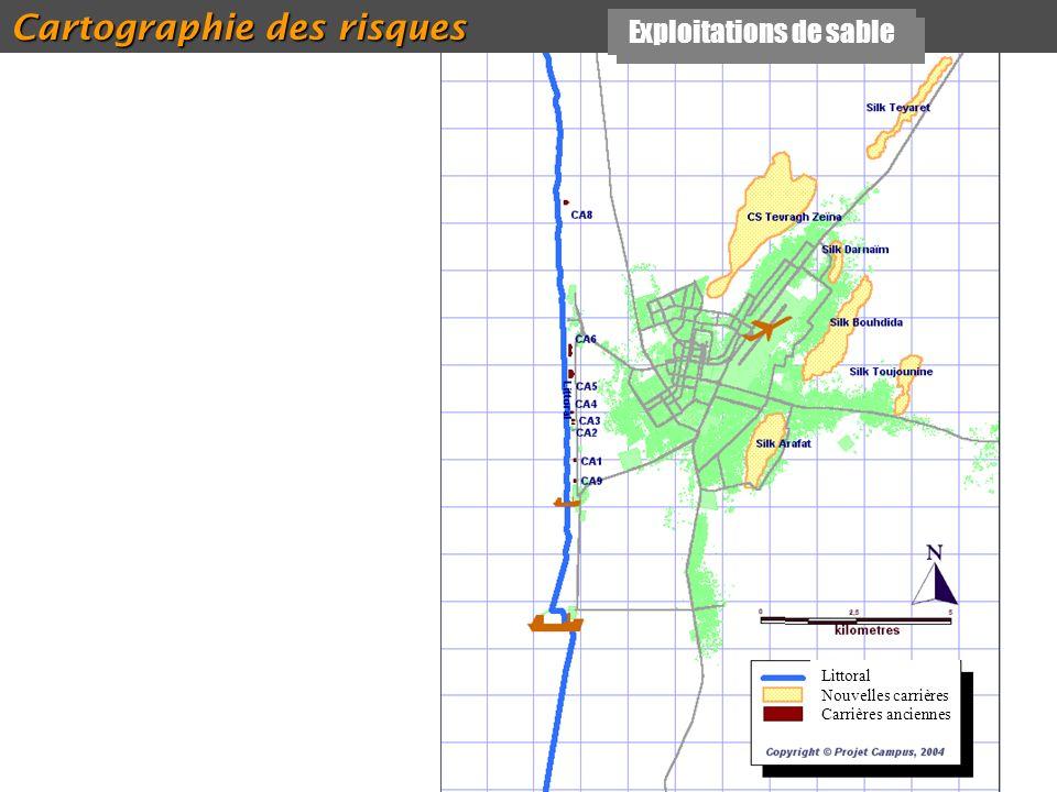 42 Cartographie des risques Exploitations de sable Littoral Nouvelles carrières Carrières anciennes