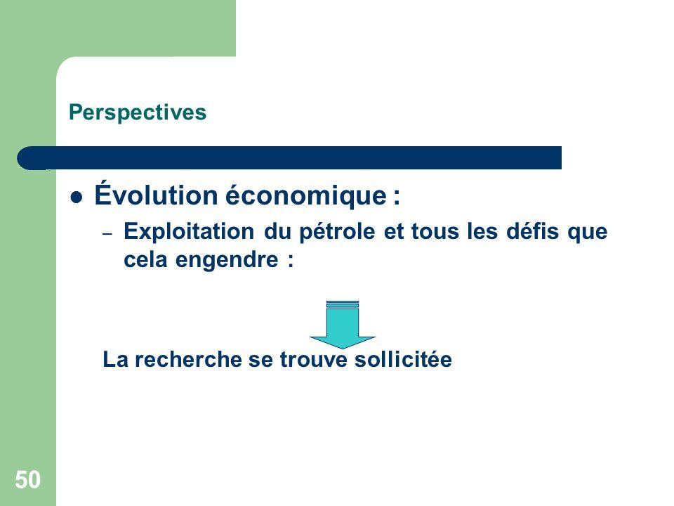 50 Perspectives Évolution économique : – Exploitation du pétrole et tous les défis que cela engendre : La recherche se trouve sollicitée