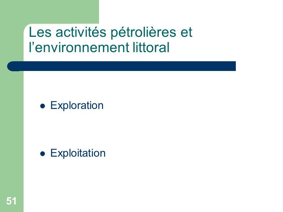 51 Exploration Exploitation Les activités pétrolières et lenvironnement littoral