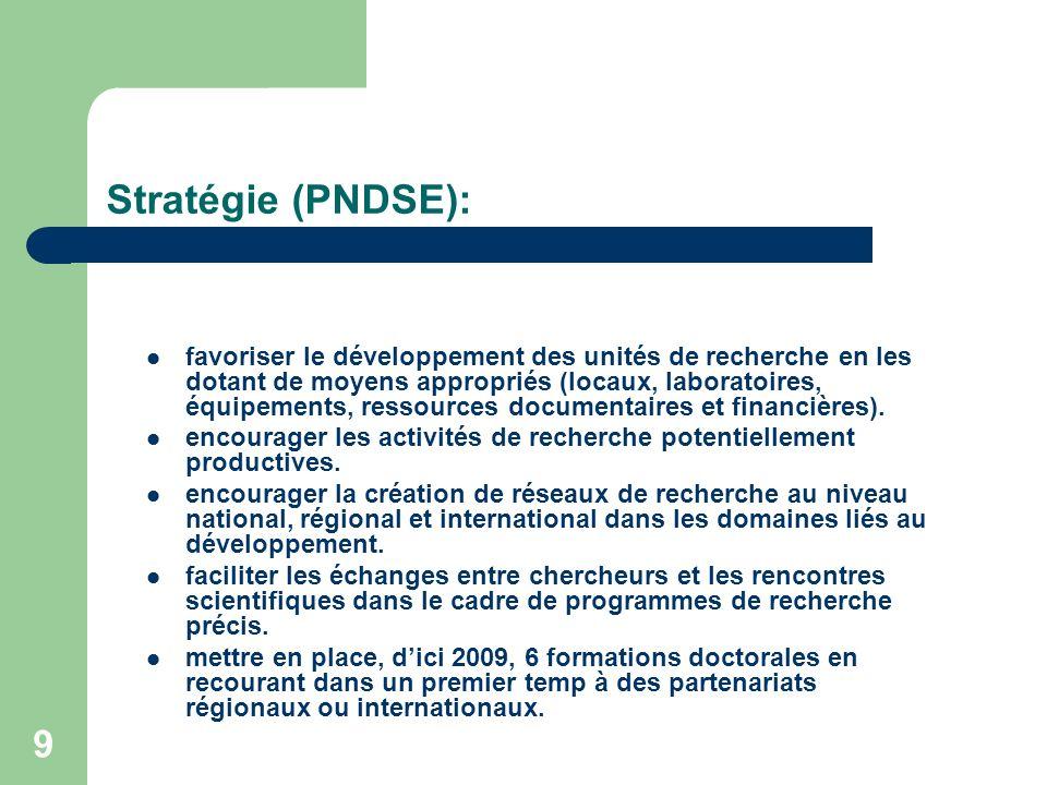 9 Stratégie (PNDSE): favoriser le développement des unités de recherche en les dotant de moyens appropriés (locaux, laboratoires, équipements, ressour