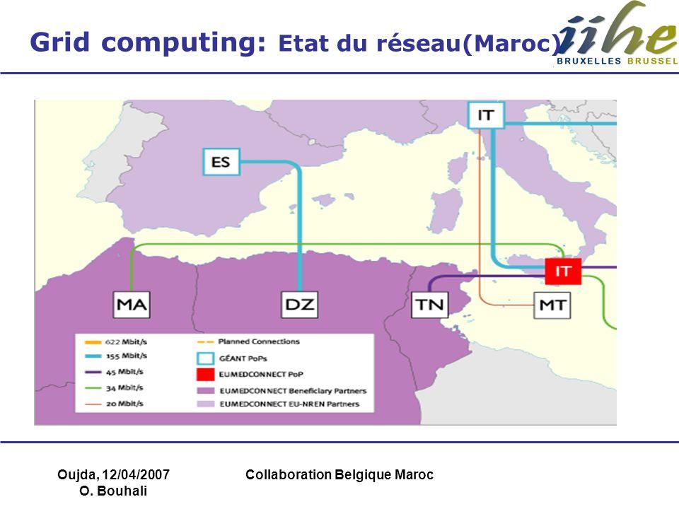 Oujda, 12/04/2007 O. Bouhali Collaboration Belgique Maroc Grid computing: Etat du réseau(Maroc) Deux thèses de doctorat en cours
