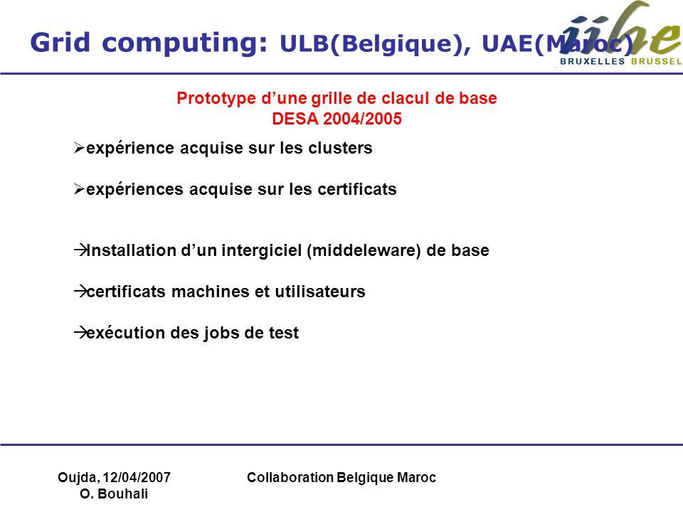 Oujda, 12/04/2007 O. Bouhali Collaboration Belgique Maroc Grid computing: ULB(Belgique), UAE(Maroc) Prototype dune grille de clacul de base DESA 2004/