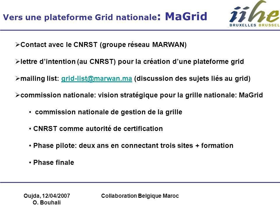 Oujda, 12/04/2007 O. Bouhali Collaboration Belgique Maroc Vers une plateforme Grid nationale : MaGrid Contact avec le CNRST (groupe réseau MARWAN) let