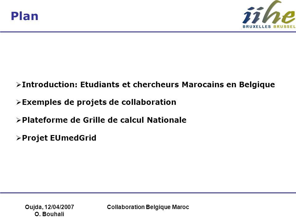 Oujda, 12/04/2007 O. Bouhali Collaboration Belgique Maroc Plan Introduction: Etudiants et chercheurs Marocains en Belgique Exemples de projets de coll
