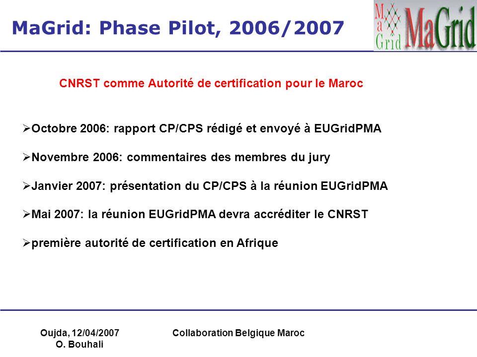Oujda, 12/04/2007 O. Bouhali Collaboration Belgique Maroc MaGrid: Phase Pilot, 2006/2007 Octobre 2006: rapport CP/CPS rédigé et envoyé à EUGridPMA Nov