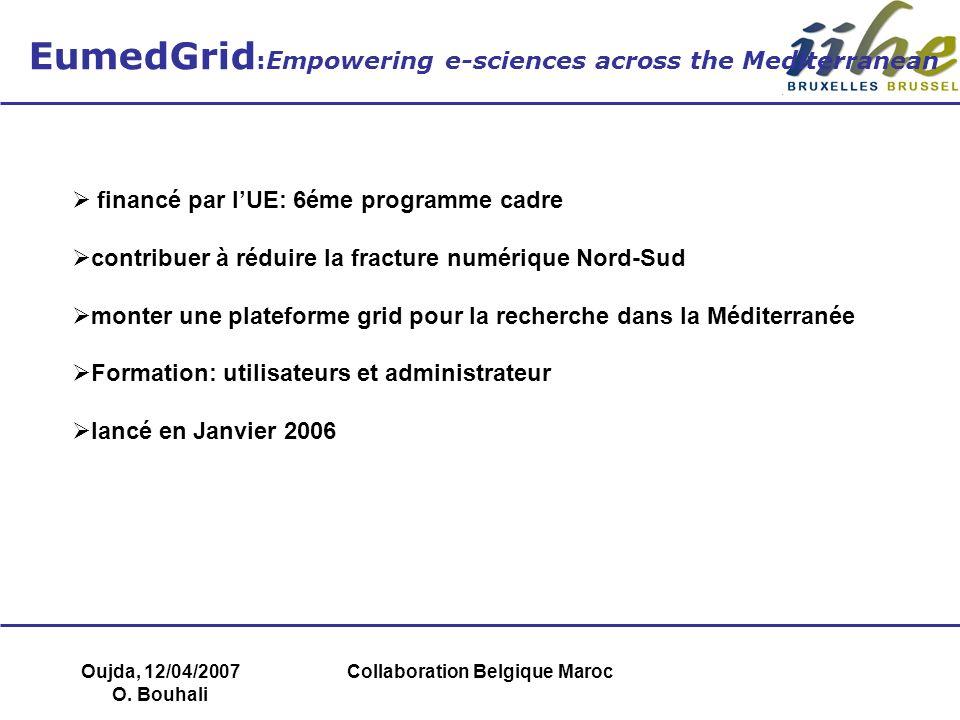 Oujda, 12/04/2007 O. Bouhali Collaboration Belgique Maroc EumedGrid :Empowering e-sciences across the Mediterranean financé par lUE: 6éme programme ca