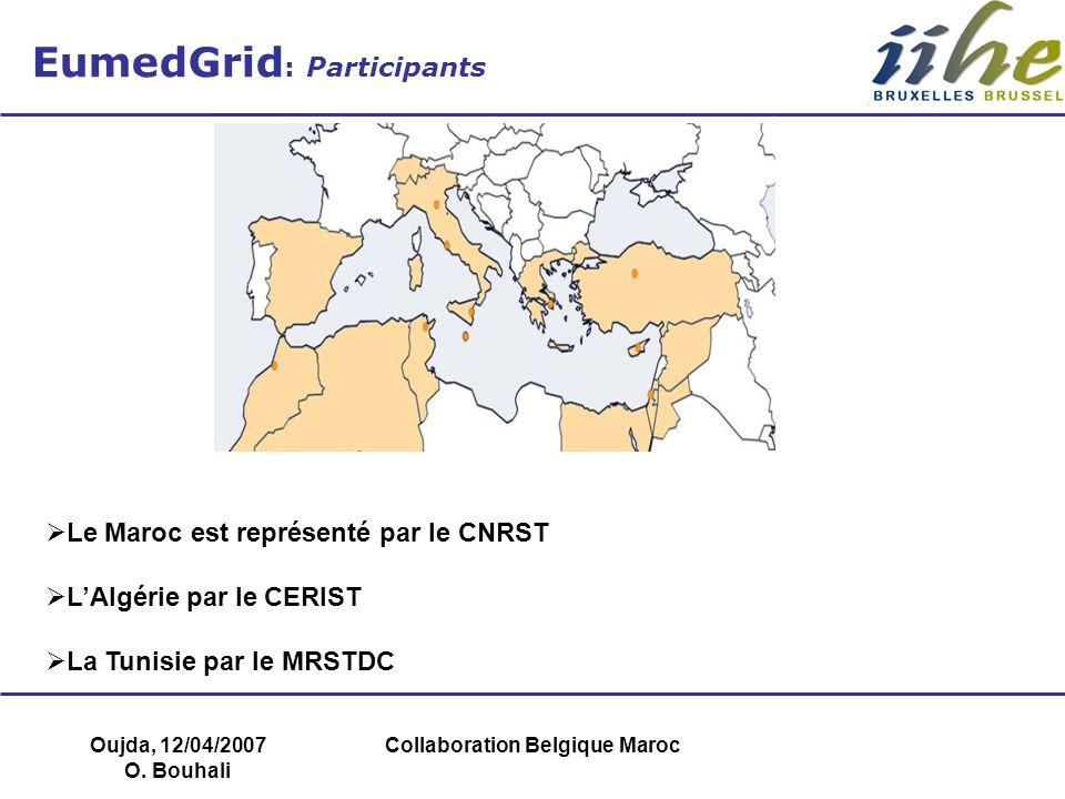 Oujda, 12/04/2007 O. Bouhali Collaboration Belgique Maroc EumedGrid : Participants Le Maroc est représenté par le CNRST LAlgérie par le CERIST La Tuni