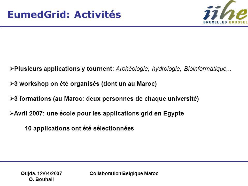 Oujda, 12/04/2007 O. Bouhali Collaboration Belgique Maroc EumedGrid: Activités Plusieurs applications y tournent: Archéologie, hydrologie, Bioinformat
