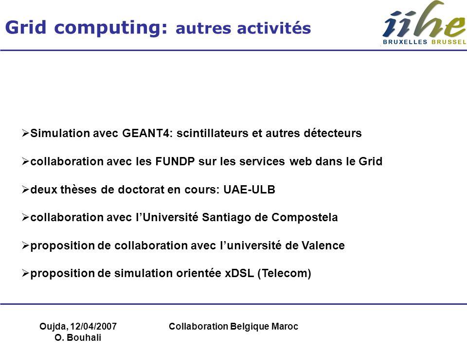 Oujda, 12/04/2007 O. Bouhali Collaboration Belgique Maroc Grid computing: autres activités Simulation avec GEANT4: scintillateurs et autres détecteurs
