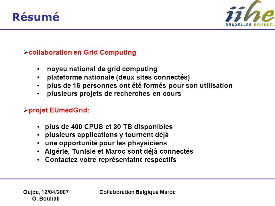 Oujda, 12/04/2007 O. Bouhali Collaboration Belgique Maroc Résumé collaboration en Grid Computing noyau national de grid computing plateforme nationale