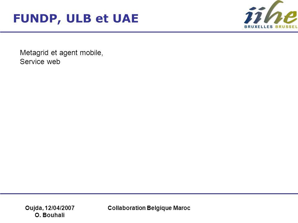 Oujda, 12/04/2007 O. Bouhali Collaboration Belgique Maroc FUNDP, ULB et UAE Metagrid et agent mobile, Service web
