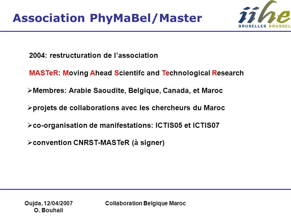 Oujda, 12/04/2007 O. Bouhali Collaboration Belgique Maroc Association PhyMaBel/Master 2004: restructuration de lassociation MASTeR: Moving Ahead Scien