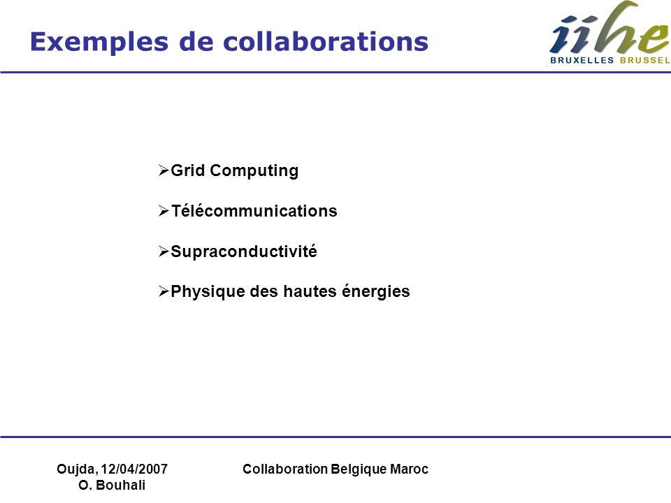 Oujda, 12/04/2007 O. Bouhali Collaboration Belgique Maroc Exemples de collaborations Grid Computing Télécommunications Supraconductivité Physique des