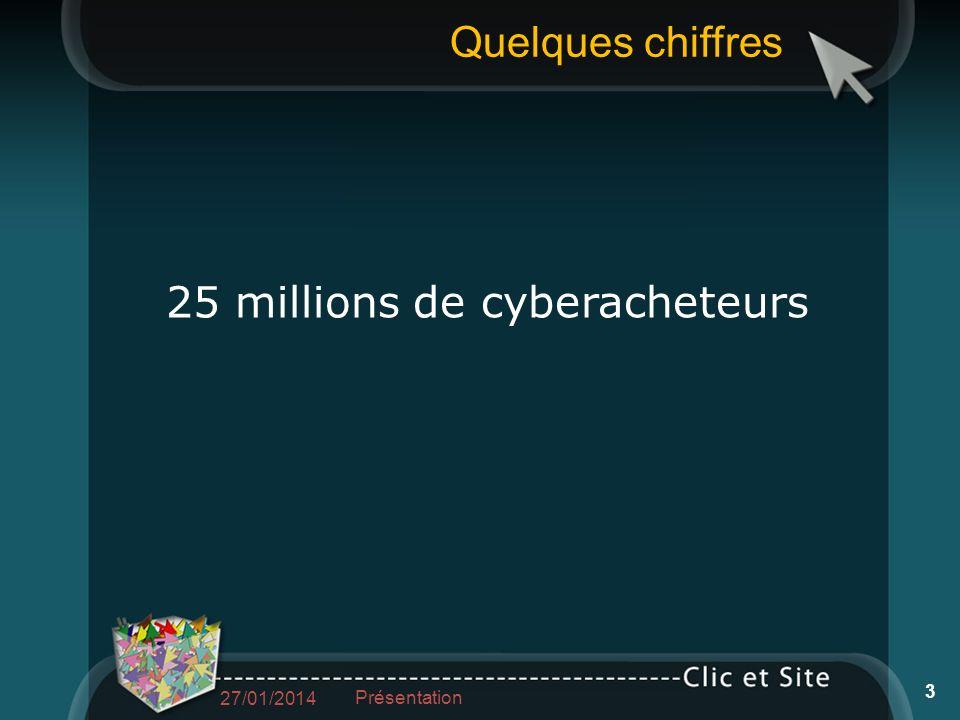 Quelques chiffres 25 millions de cyberacheteurs 27/01/2014 Présentation 3
