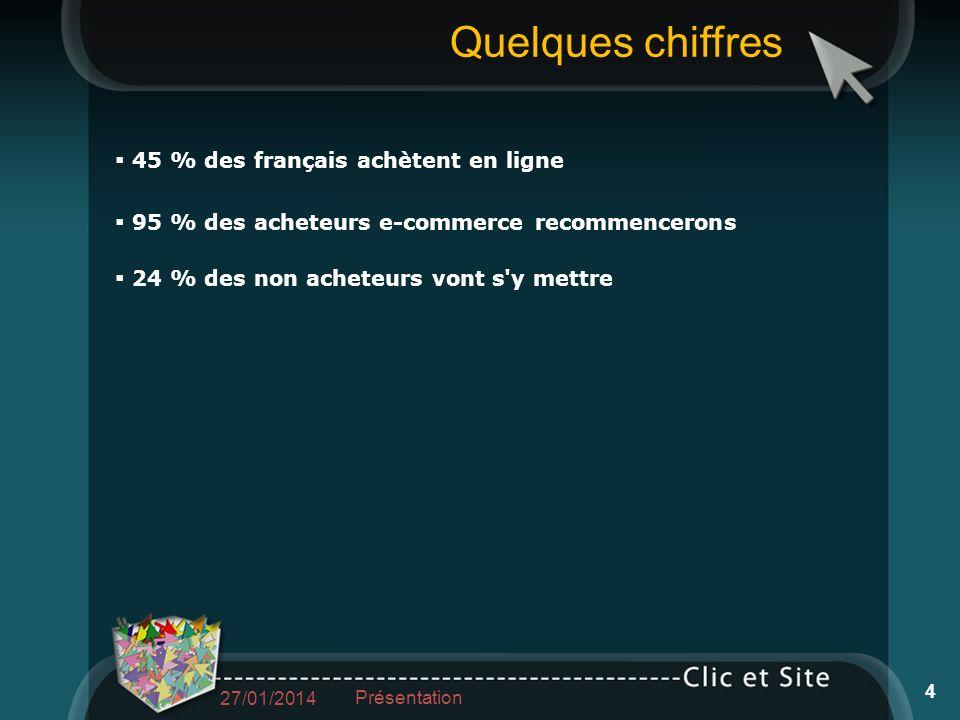 Quelques chiffres 45 % des français achètent en ligne 95 % des acheteurs e-commerce recommencerons 24 % des non acheteurs vont s y mettre 27/01/2014 Présentation 4