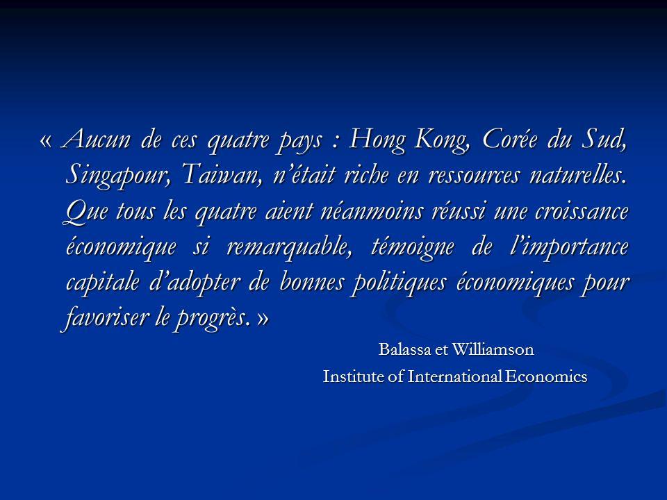 « Aucun de ces quatre pays : Hong Kong, Corée du Sud, Singapour, Taiwan, nétait riche en ressources naturelles.