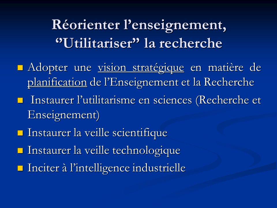 Réorienter lenseignement, Utilitariser la recherche Adopter une vision stratégique en matière de planification de lEnseignement et la Recherche Adopte