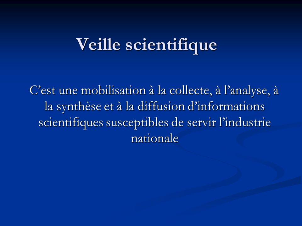 Veille scientifique Cest une mobilisation à la collecte, à lanalyse, à la synthèse et à la diffusion dinformations scientifiques susceptibles de servi