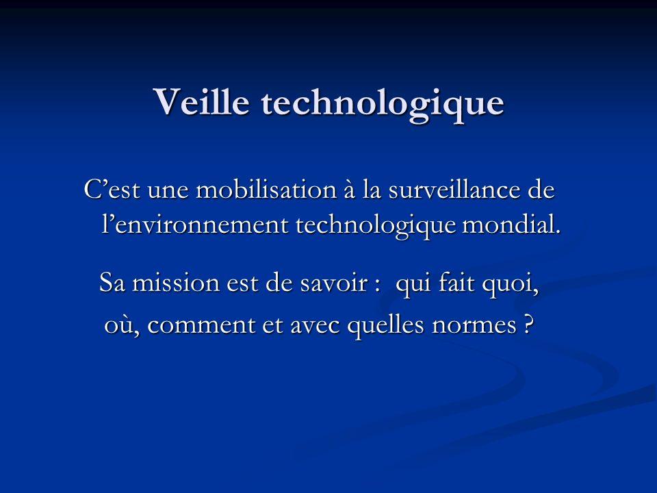 Veille technologique Cest une mobilisation à la surveillance de lenvironnement technologique mondial. Sa mission est de savoir : qui fait quoi, où, co