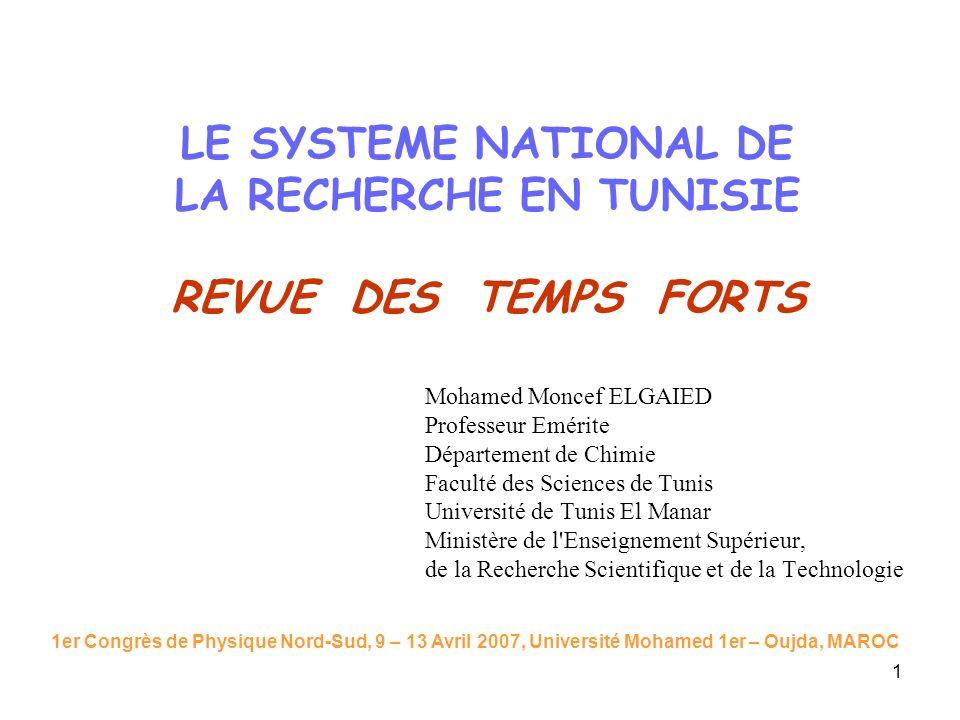 1 LE SYSTEME NATIONAL DE LA RECHERCHE EN TUNISIE REVUE DES TEMPS FORTS Mohamed Moncef ELGAIED Professeur Emérite Département de Chimie Faculté des Sci