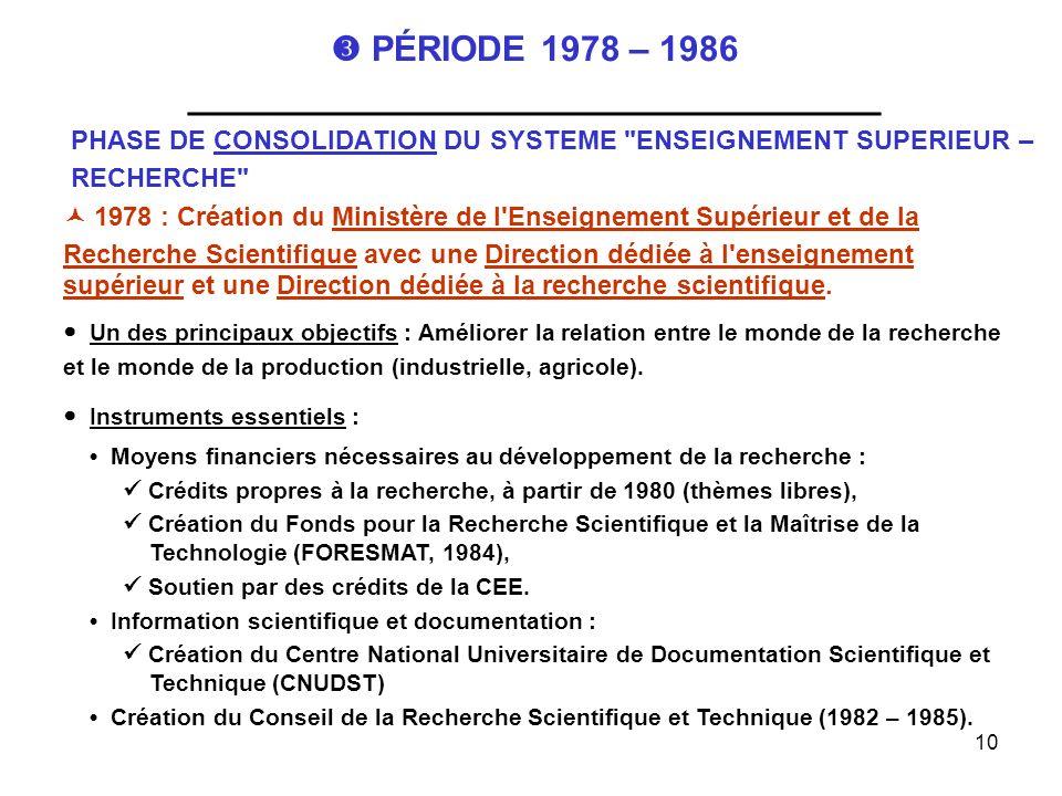 10 PÉRIODE 1978 – 1986 ___________________________________ PHASE DE CONSOLIDATION DU SYSTEME