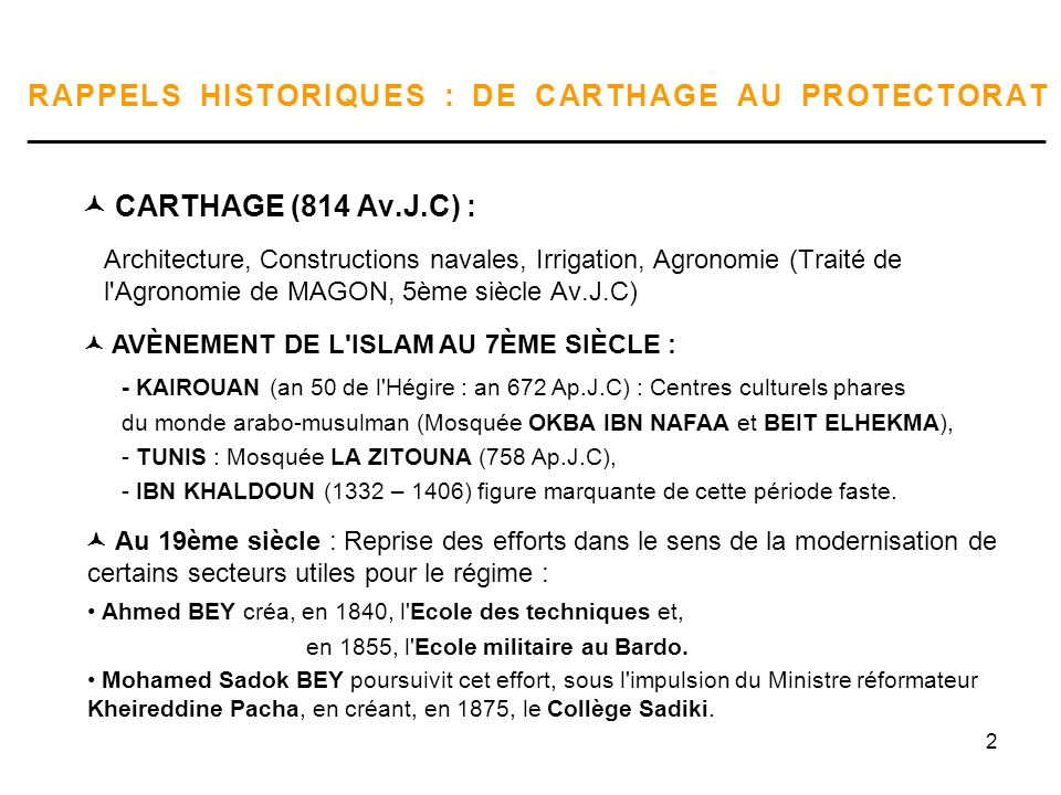 2 RAPPELS HISTORIQUES : DE CARTHAGE AU PROTECTORAT _____________________________________________________________________ CARTHAGE (814 Av.J.C) : Archi