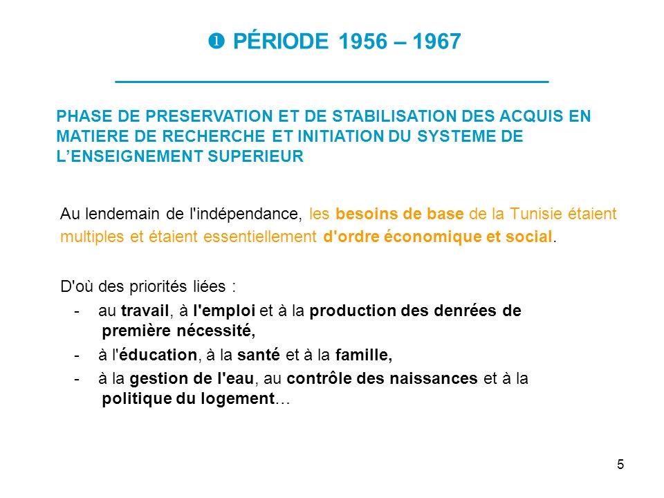 5 PÉRIODE 1956 – 1967 ___________________________________ Au lendemain de l'indépendance, les besoins de base de la Tunisie étaient multiples et étaie