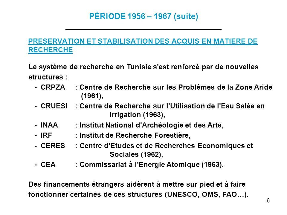 6 PÉRIODE 1956 – 1967 (suite) ___________________________________ PRESERVATION ET STABILISATION DES ACQUIS EN MATIERE DE RECHERCHE Le système de reche