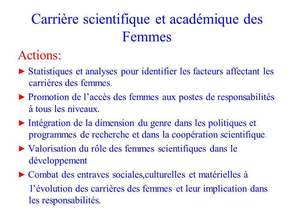 Carrière scientifique et académique des Femmes Actions: Statistiques et analyses pour identifier les facteurs affectant les carrières des femmes. Prom