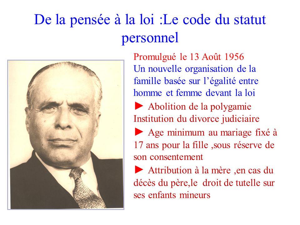 De la pensée à la loi :Le code du statut personnel Promulgué le 13 Août 1956 Un nouvelle organisation de la famille basée sur légalité entre homme et