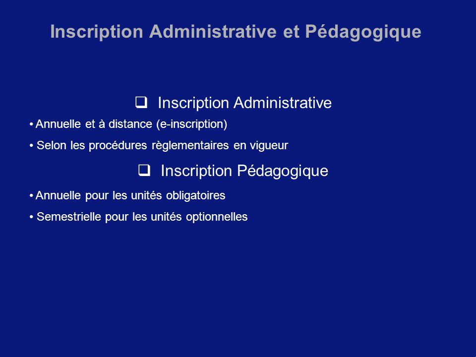 Inscription Administrative et Pédagogique Inscription Administrative Annuelle et à distance (e-inscription) Selon les procédures règlementaires en vig