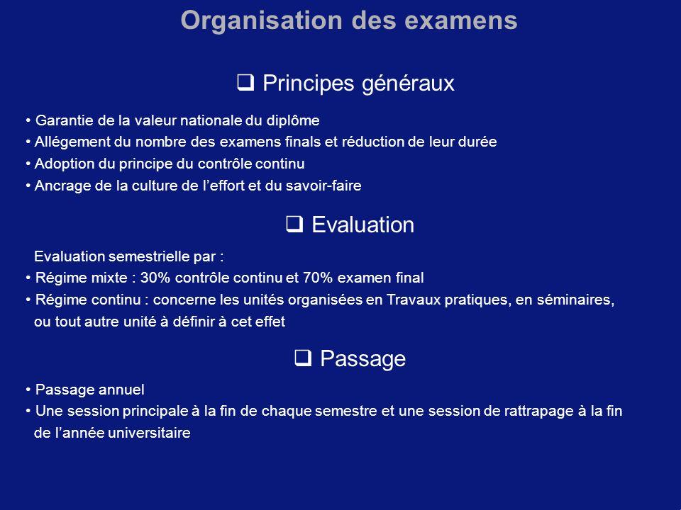 Organisation des examens Principes généraux Garantie de la valeur nationale du diplôme Allégement du nombre des examens finals et réduction de leur du