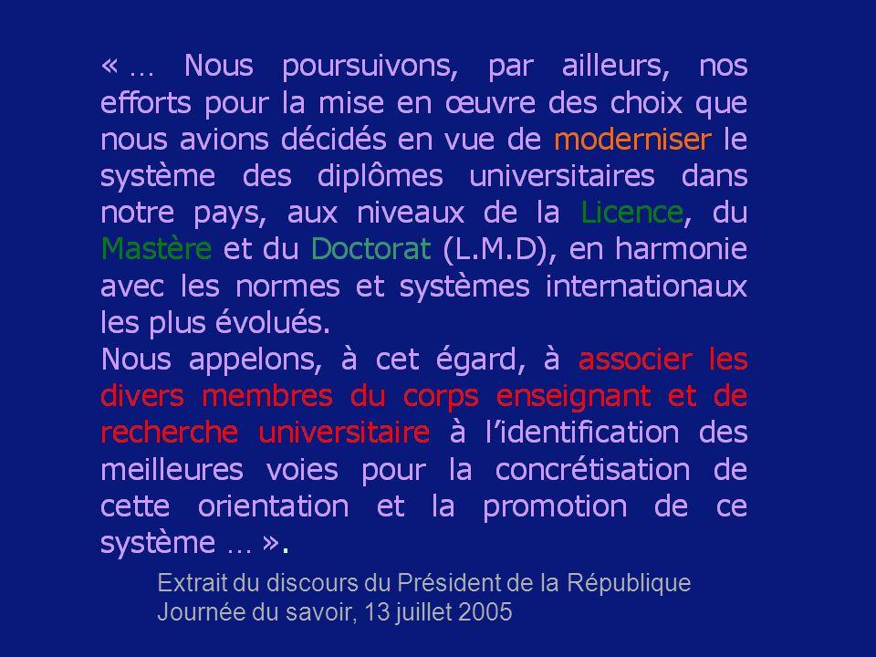 Extrait du discours du Président de la République Journée du savoir, 13 juillet 2005