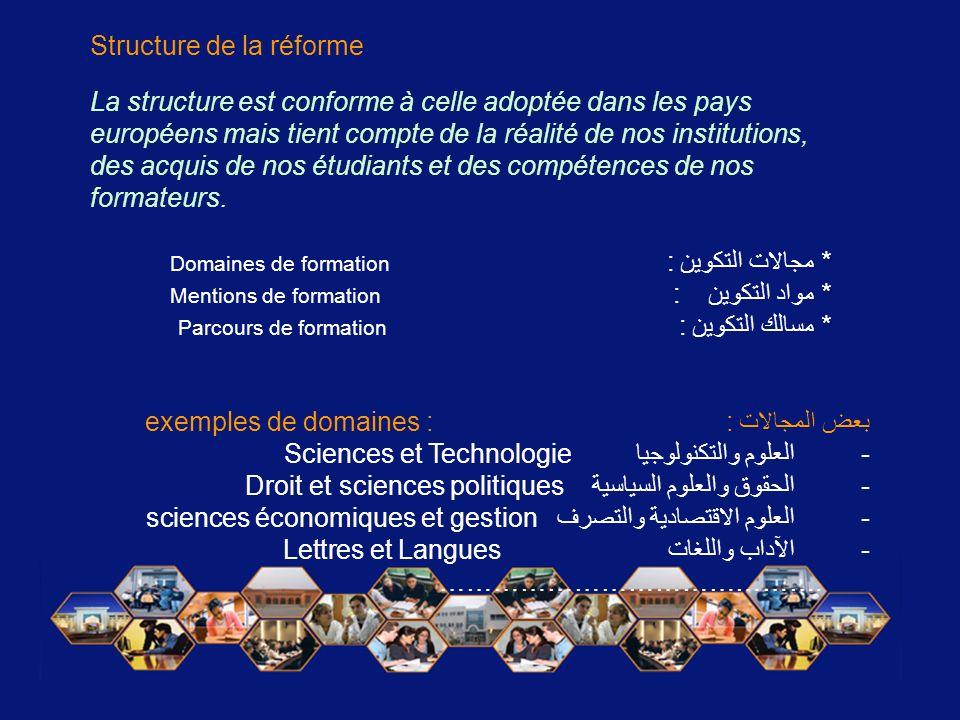 La structure est conforme à celle adoptée dans les pays européens mais tient compte de la réalité de nos institutions, des acquis de nos étudiants et