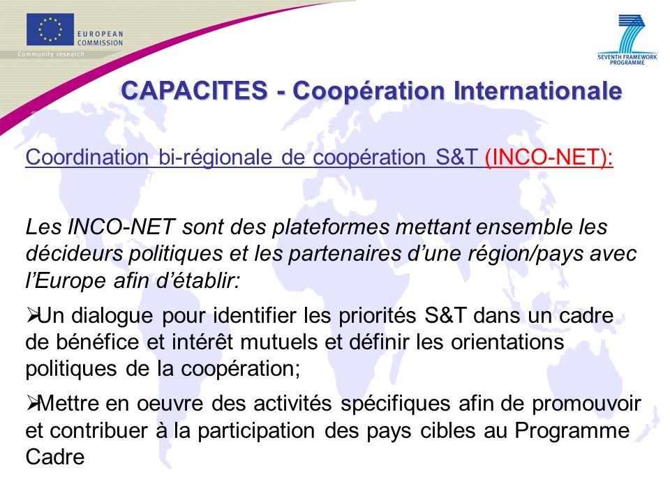 Coordination bi-régionale de coopération S&T (INCO-NET): Les INCO-NET sont des plateformes mettant ensemble les décideurs politiques et les partenaires dune région/pays avec lEurope afin détablir: Un dialogue pour identifier les priorités S&T dans un cadre de bénéfice et intérêt mutuels et définir les orientations politiques de la coopération; Mettre en oeuvre des activités spécifiques afin de promouvoir et contribuer à la participation des pays cibles au Programme Cadre CAPACITES - Coopération Internationale