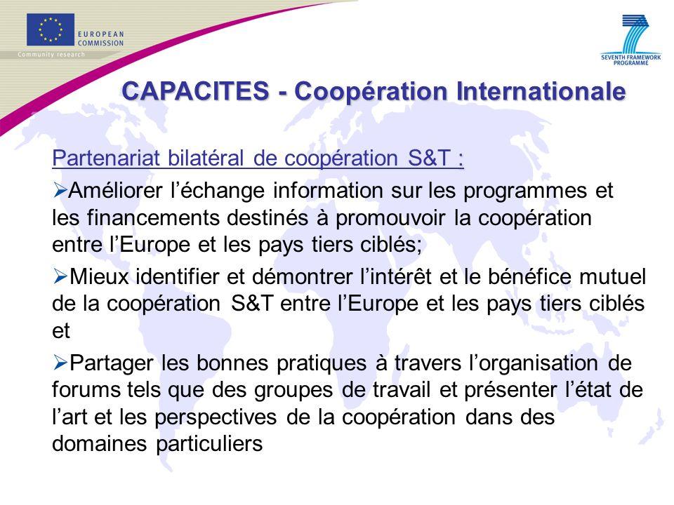 : Partenariat bilatéral de coopération S&T : Améliorer léchange information sur les programmes et les financements destinés à promouvoir la coopération entre lEurope et les pays tiers ciblés; Mieux identifier et démontrer lintérêt et le bénéfice mutuel de la coopération S&T entre lEurope et les pays tiers ciblés et Partager les bonnes pratiques à travers lorganisation de forums tels que des groupes de travail et présenter létat de lart et les perspectives de la coopération dans des domaines particuliers CAPACITES - Coopération Internationale