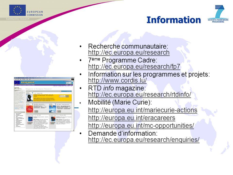 Information Recherche communautaire: http://ec.europa.eu/research http://ec.europa.eu/research 7 ème Programme Cadre: http://ec.europa.eu/research/fp7